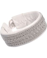 Maria Rudman | Gray Wide Leather Pewter Embroidered Bracelet | Lyst
