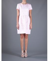 Oscar de la Renta | Pink Flared Lace Overlay Dress | Lyst
