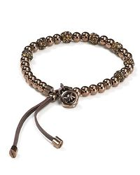 Michael Kors | Metallic Pavé Beaded Leather Bracelet | Lyst