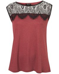 TOPSHOP - Red Eyelash Lace Shell Top - Lyst