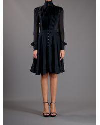 Alexander McQueen | Black Sheer Pleat Dress | Lyst