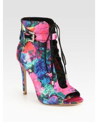 B Brian Atwood   Multicolor Lindford Satin Laceup Ankle Boots   Lyst