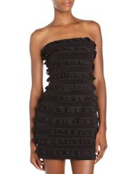 Elizabeth and James | Black Vivienne Silk Chiffon-ruffled Strapless Dress | Lyst