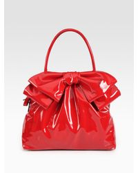 Valentino | Red Double Handle Patent Leather Bow Bag | Lyst