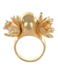 Alexander McQueen | Metallic Gold Atom Flower Skull Cocktail Ring | Lyst