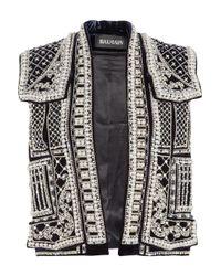 Balmain | Silver Embellished Velvet Vest | Lyst