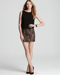Adrianna Papell - Metallic Day Dress Blouson Lace Skirt - Lyst