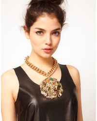 ASOS - Metallic Premium Lion Collar Necklace - Lyst