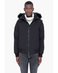 Cmfr | Black Mink Fur Hood Oxton Bomber Jacket for Men | Lyst