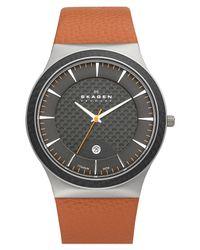 Skagen | Orange Titanium Case Leather Watch for Men | Lyst