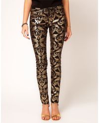ASOS | Multicolor Skinny Jeans in Metallic Baroque Print | Lyst