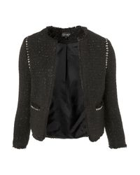 TOPSHOP - Black Coord Stud Boucle Jacket - Lyst