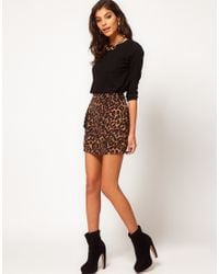 ASOS Collection | Multicolor Asos Animal Print Mini Skirt in Ponte | Lyst