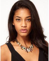 ASOS - Metallic Winged Stone Collar Necklace - Lyst