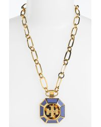 Tory Burch | Blue Rylan Logo Pendant Necklace | Lyst