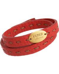 Fendi - Red Selleria Bracelet - Lyst