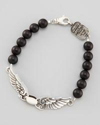 King Baby Studio - Metallic Black Onyx Wing Bracelet for Men - Lyst