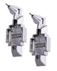 Rebecca Minkoff - Metallic Heart Stone Earring - Lyst
