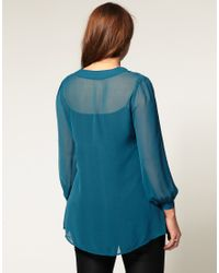 ASOS Collection - Blue Asos Curve Exclusive Sheer Shirt with Pussybow - Lyst