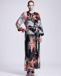 Lanvin | Blue Tropicalprint Caftan Maxi Dress | Lyst