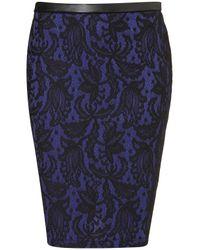Topshop | Blue Lace Pencil Skirt | Lyst