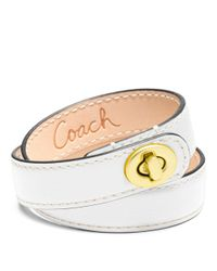 COACH - White Leather Double Wrap Turnlock Bracelet - Lyst