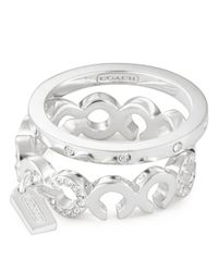 COACH | Metallic Sterling Pave Op Art Stacking Ring | Lyst