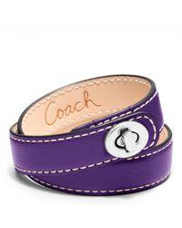 COACH - Purple Leather Double Wrap Turnlock Bracelet - Lyst