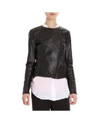 Vince | Black Asymmetric Front Zip Leather Jacket | Lyst