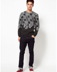 ASOS Gray Asos Paisley Jumper for men