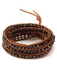 Chan Luu - Brown Five Leather Semi Precious Wrap Bracelet - Lyst