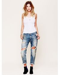 Free People | Blue Womens Shower Me W Flowers Jean | Lyst