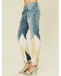 Free People - Blue La Plata Patchwork Jean - Lyst
