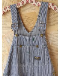 Free People | Blue Washed Cord Overalls | Lyst