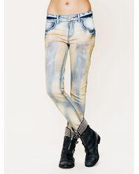 Free People - Blue Five Pocket Slim Slouch Jeans - Lyst