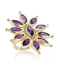 Ileana Makri | Purple Sea Flower 18-karat Gold, Amethyst And Tsavorite Ring | Lyst