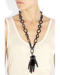 Lanvin - Metallic Swarovski Crystal and Resin Hand Pendant Necklace - Lyst