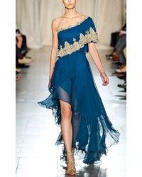 Marchesa | Gold Oneshoulder Chiffon Gown with Asymmetric Hem | Lyst
