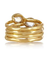 Monica Vinader - Metallic Siren Set Of Four 18karat Goldvermeil Stacking Rings - Lyst