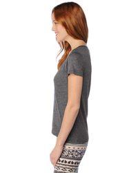Splendid - Gray Very Light Jersey S/s Scoop Neck Top - Lyst