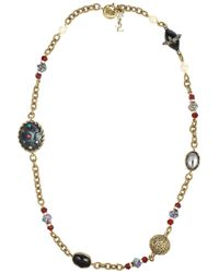 Saint Laurent - Metallic Secrecy Tigers Eye and Onyx Necklace - Lyst