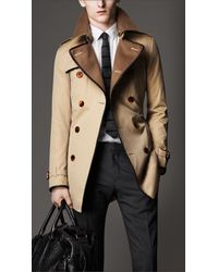 Burberry - Natural Midlength Wool Collar Cotton Gabardine Trench Coat for Men - Lyst