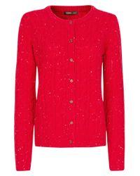 Mango - Mango Cable Knit Cardigan Red - Lyst