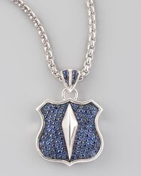 Stephen Webster | Metallic Pave Sapphire Shield Necklace for Men | Lyst