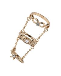 TOPSHOP - Metallic Three Finger Baroque Ring - Lyst