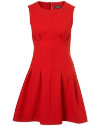 TOPSHOP | Red Seam Waist Shift Dress | Lyst