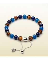 Gucci | Brown Bamboo Bracelet With Light Blue Chalcedony & Lapis Lazuli Beads for Men | Lyst