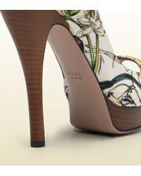 Gucci - Brown Lisbeth Flora Canvas Mary Jane Open Toe Pump - Lyst