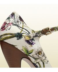 Gucci - Brown Lisbeth Flora Canvas Mary Jane Open Toe Pump - Lyst