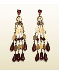 Gucci - Metallic Earrings with Marina Chain Motif and Light and Dark Garnet Colored Beads - Lyst
